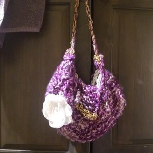 Other - Handmade purple knit bag with faux fur lining